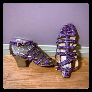 Strappy sandals Reptile print purple patent